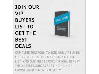 Free Special Report: The 22 Best Sources for Finding High Growth Investment Property